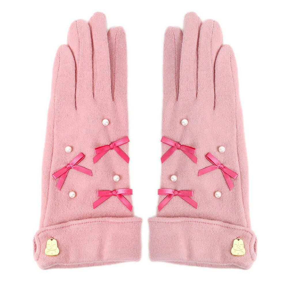 Melody緞面珍珠粉紅成人保暖觸控手套