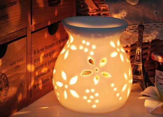 圓型 雕花陶瓷香薰爐 香薰精油爐 蠟燭台 家居日用品