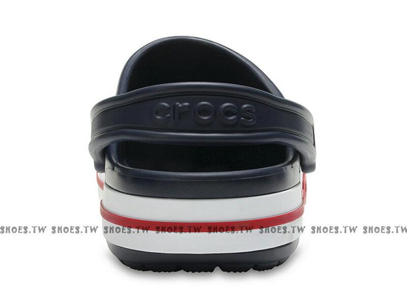 《CROCS出清69折》Shoestw【205089-4CC】CROCS 卡駱馳 鱷魚 輕便鞋 拖鞋 涼鞋 深藍白紅 弧線 中性款 1