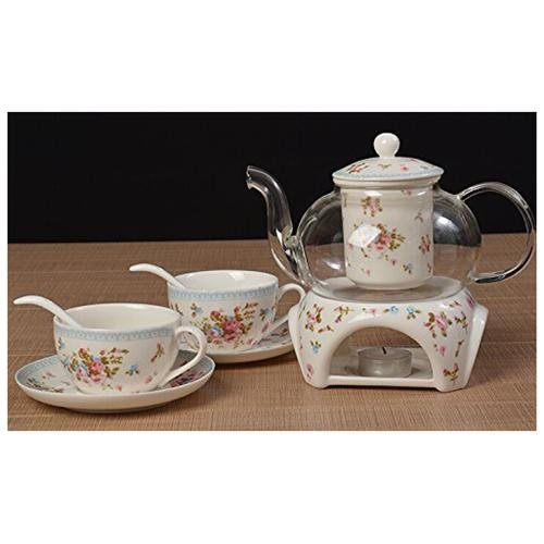 27 oz tea maker teapot with a Porcelain warmer and 2 set of Porcelain Cup and Saucer and Spoon