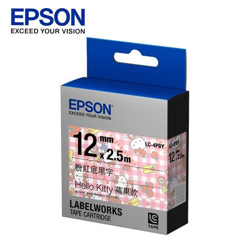 EPSON LC~4PBY C53S625060 Kitty系列蘋果款粉紅底黑字標籤帶 寬