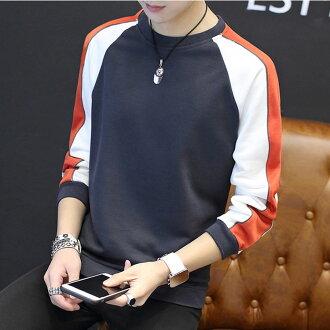最新款經典拼接拚色造型圓領套頭長袖T恤