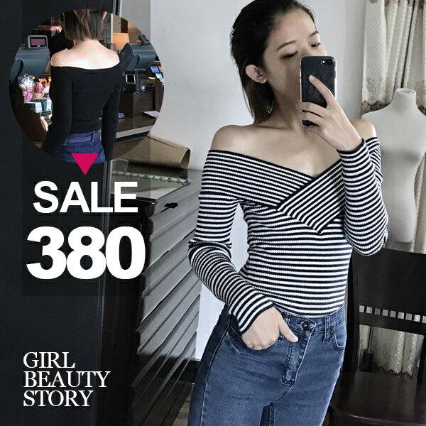 SISI【L6105】韓國chic風性感露肩正反兩穿V領一字領彈力修身長袖螺紋針織上衣