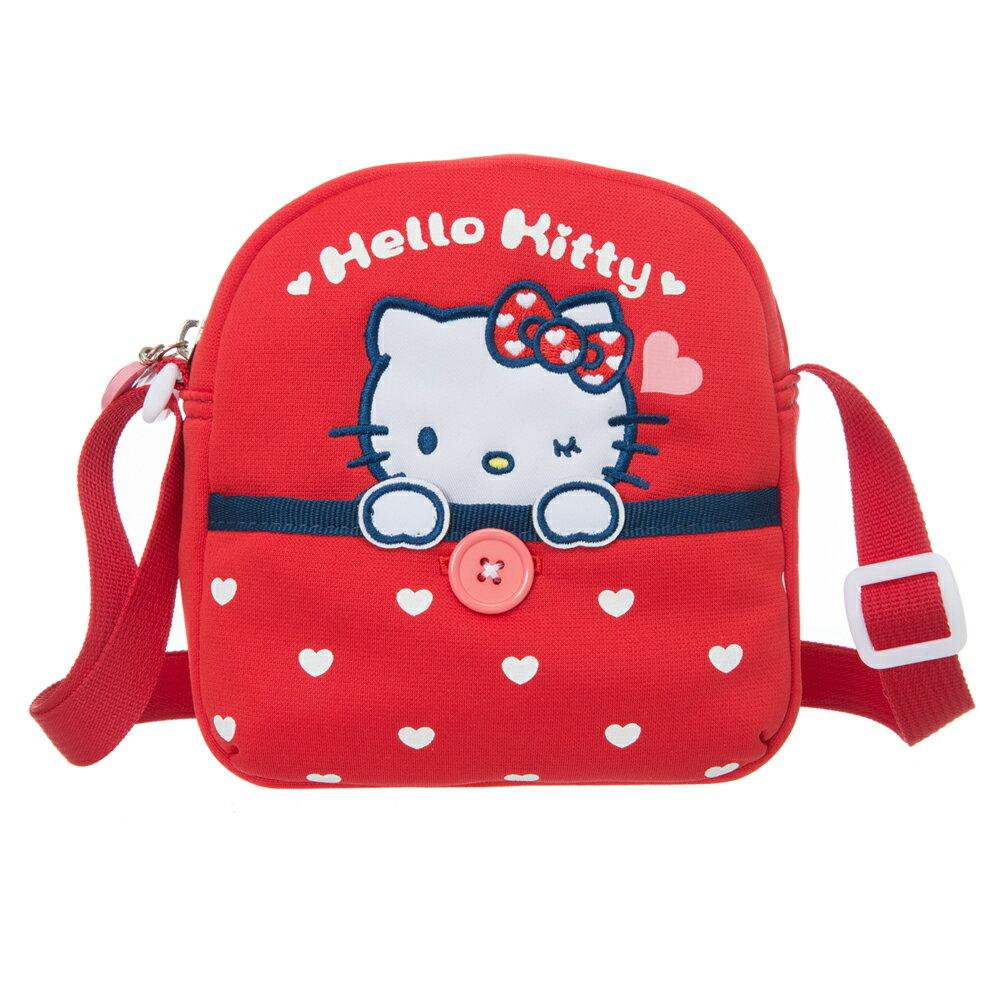 【真愛日本】15121900033 童用側背包-我愛凱蒂紅 KITTY 凱蒂貓 三麗鷗 包包 側背包 斜背包 外出