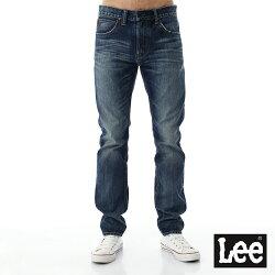 Lee 707 牛仔褲101+ 707 中腰標準合身小直筒牛仔褲-男款-刷白-藍色
