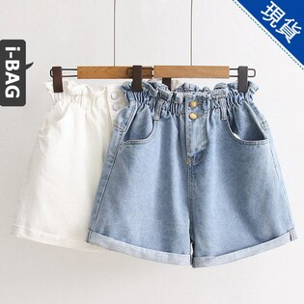 B.A.G*現+預*【PA1255】日系簡約腰鬆緊高腰顯瘦牛仔短褲(現+預)-2色