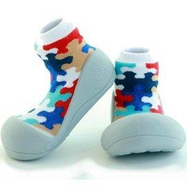 韓國【Attipas】快樂腳襪型學步鞋-灰底拼圖 XL【紫貝殼】 - 限時優惠好康折扣