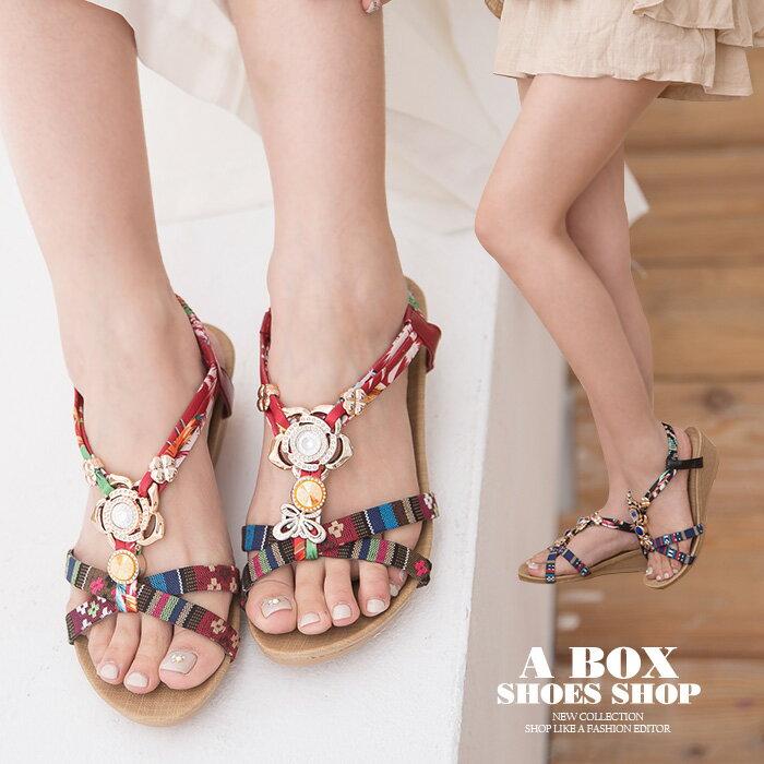 【ANWF18】MIT台灣製 夏季度假風印花布 舒適柔軟乳膠墊 4.5CM楔形交叉帶涼鞋 坡跟鞋 3色
