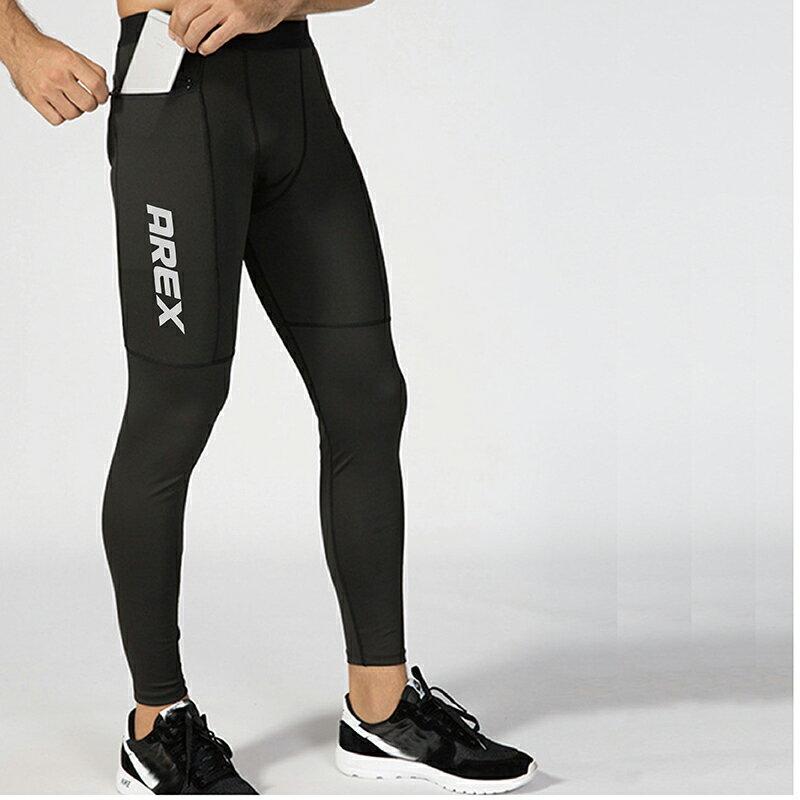 AREXSPORT機能收納男收腹彈力吸排高腰緊身運動褲 AS-7157 黑 S~2L (健身 / 健走 / 戶外休閒 / 重訓 / 瑜珈) 1