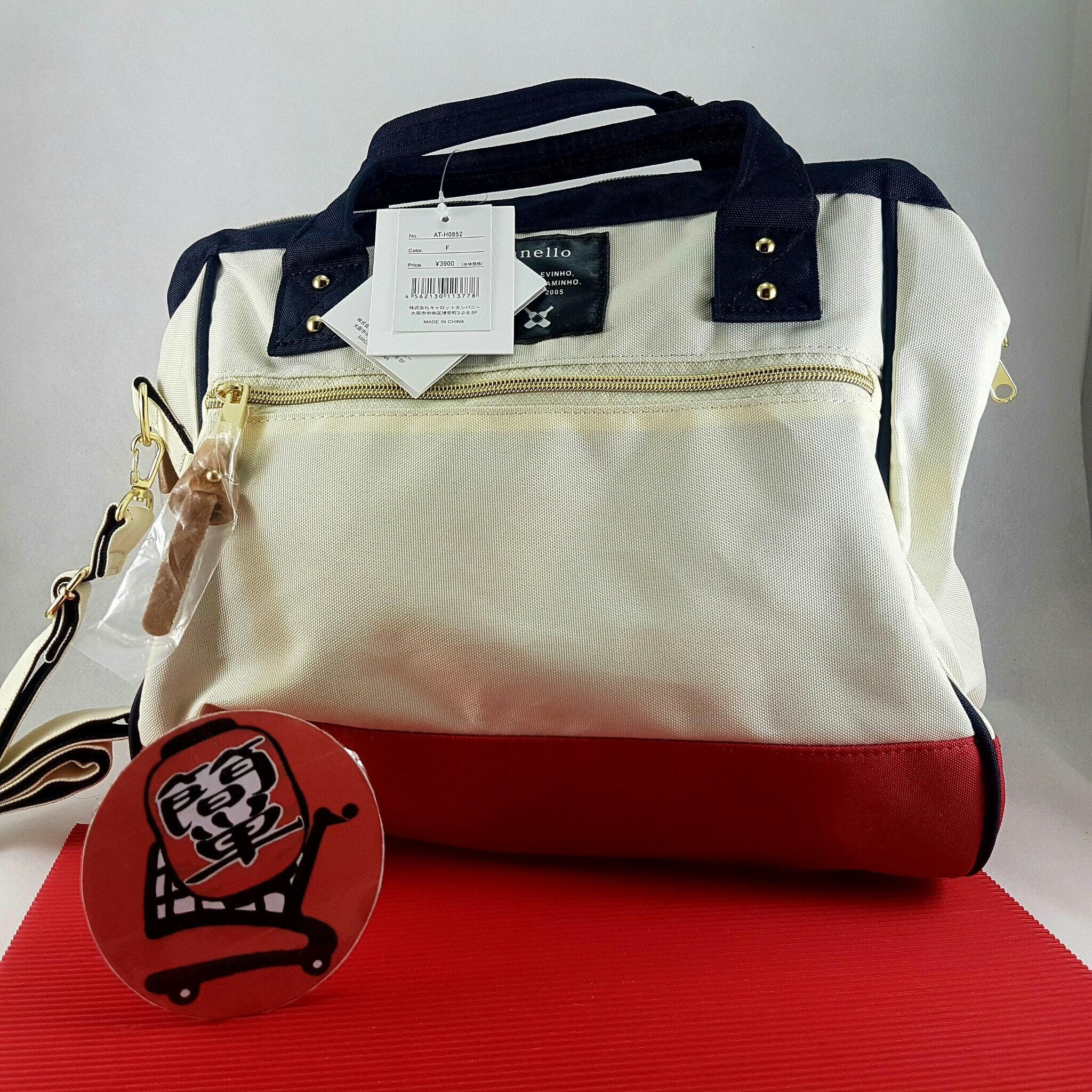 『簡単全球購』大尺寸側背-紅白款 anello 新款側背包、手提包 2WAY 男女通用時尚包 大尺寸波