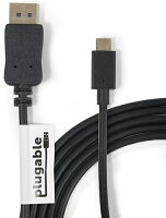 Apple 蘋果商品推薦【美國代購】Plugable USB-C to DisplayPort 1.8 米 Adapter Cable 支援4K@60hz (適用 MacBook Pro)