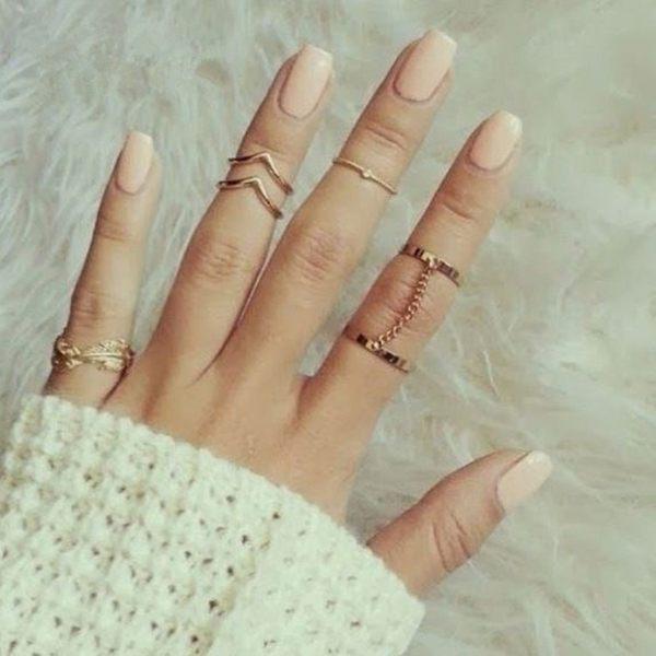 PS Mall 鑲鑽葉子樹葉V形關節 連指鏈條6六件套裝戒指【G2356】