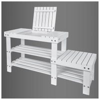 Haotian Bamboo Shoe Rack, Bench, Stool, Display Racks, Seat with Sorage Draw On Top, FSR08-W,white