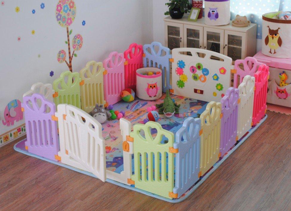 ST檢驗合格 十二色童話 愛心皇冠款 嬰兒柵欄 便攜式遊戲圍欄 18片(16小+2大 )