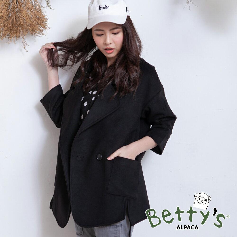 betty's貝蒂思翻領下開衩磨毛外套(黑色) ► 618天天領券現折120