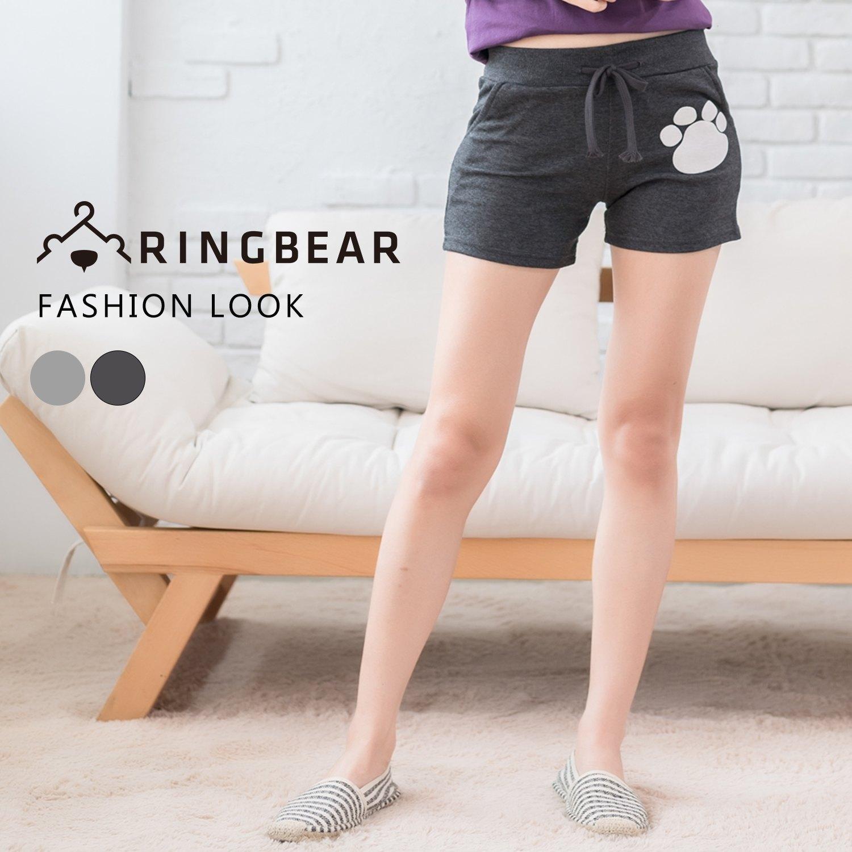 休閒褲--簡約俏皮前後口袋腳印鬆緊抽繩褲頭短褲(淺灰.深灰M-2L)-R142眼圈熊中大尺碼 1