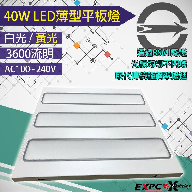 LED 平板燈 40W 薄型 白/黃光 輕鋼架 T-BAR 平板燈 (36W 45W) BSMI認證