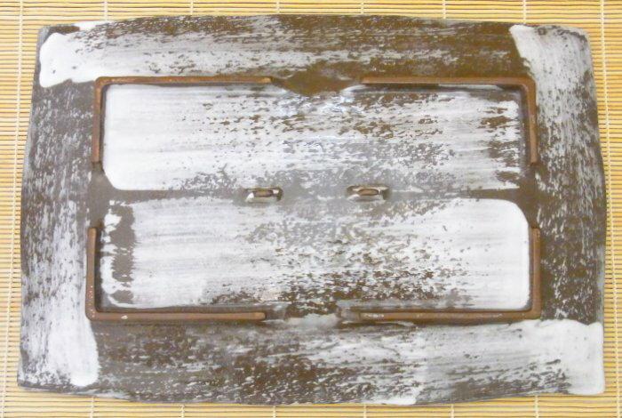 【日本陶瓷 萬古燒】白刷毛目 34x24cm大方盤 手工陶土 和風宴客餐盤(福介生活館)