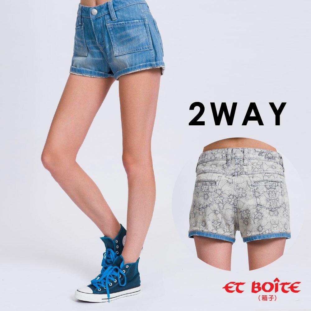 【8折限定↘】ET BOiTE 箱子  雙面穿蕾絲風格牛仔短褲 1