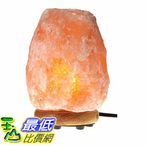 [106美國直購] WBM Himalayan Glow 1001 Hand Carved Natural Salt Lamp with Genuine Neem Wood Base/Bulb and Dimmer Control,Crystal,Amber, 6-7-Inch, 5-6 lb