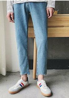 FINDSENSE品牌前短後長牛仔不規則毛邊的藍牛仔褲