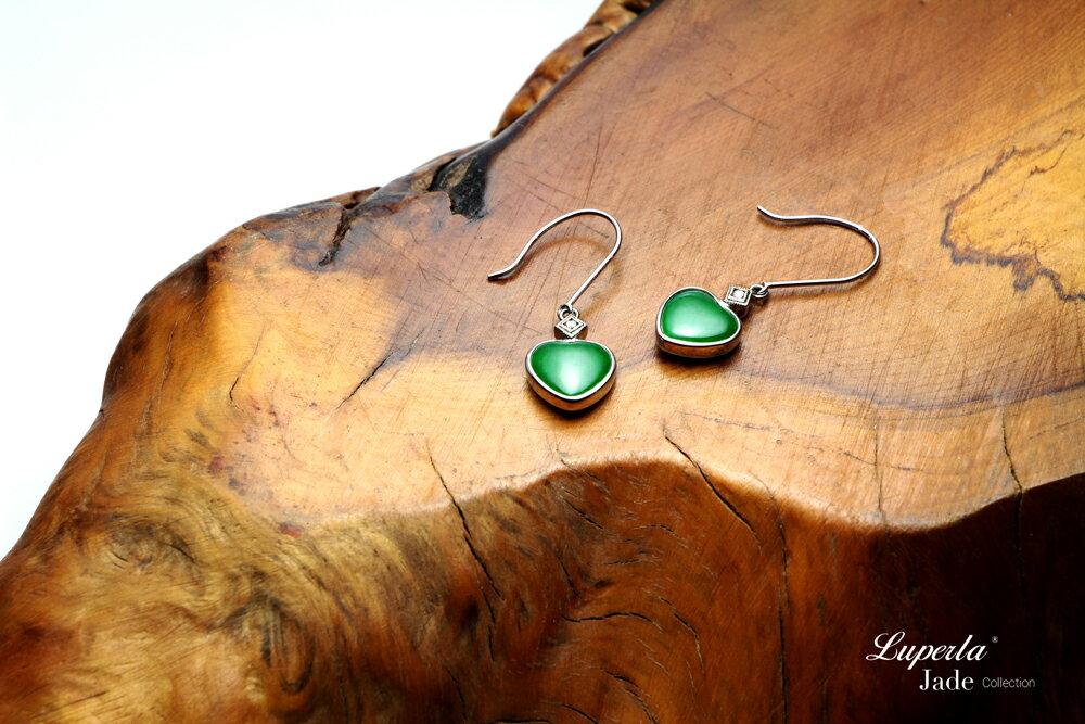 大東山珠寶 珍愛 天然緬甸老坑玻璃種A貨翡翠 頂級真鑽18K白金耳環 3