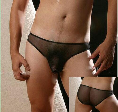 [漫朵拉情趣用品]男士性感透明三角內褲 (藍) NO.533045