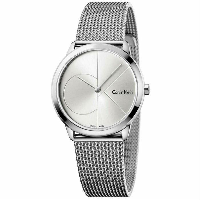 大高雄鐘錶城 CK Calvin klein 卡文克萊 Minimal系列(K3M2212Z)時尚LOGO米蘭腕錶/ 白面35mm