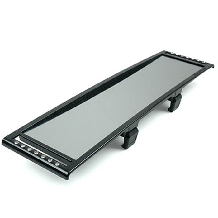 權世界@汽車用品 韓國 FOURING 水鑽裝飾黑框平面鏡 防眩光車內後視鏡 後照鏡 270mm FU-133
