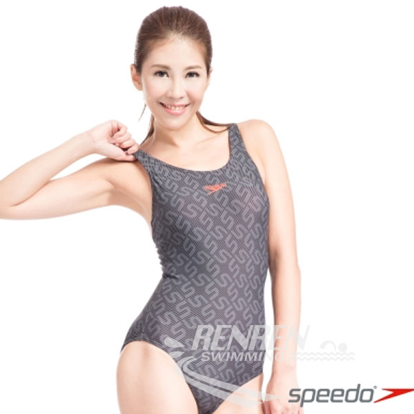 SPEEDO 女 Monogram Allover MB 運動連身泳裝 (黑-灰)