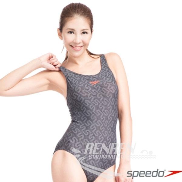 SPEEDO女MonogramAlloverMB運動連身泳裝(黑-灰)