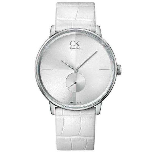 CK 日月光系列(K2Y211K6)小秒針質感銀時尚腕錶/白面40.5mm