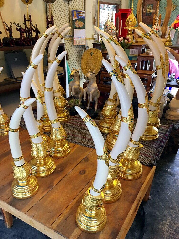 泰國木雕大象牙擺件 門廳玄關供桌擺設 東南亞特色泰式風格裝飾品1入