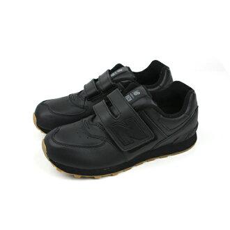 New Balance 574系列 運動鞋 魔鬼氈 皮質 舒適 黑色 童鞋 KV574G9Y no811