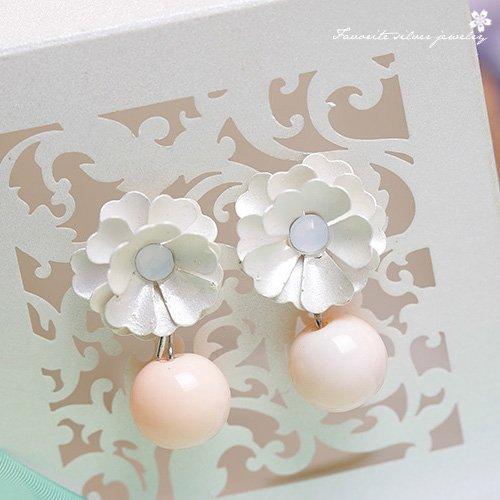 奶油立體小花耳環10149【櫻桃飾品】【10149】