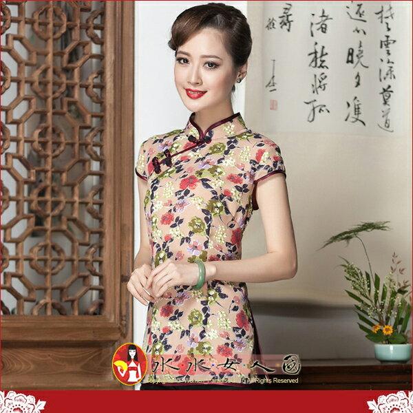 <br/><br/> 【水水女人國】~復古中國風美穿在身~暗香。古典印花質優雪紡短袖唐裝上衣<br/><br/>