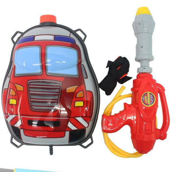 消防車背包水槍 後背式水槍 槍長34cm/一個入{促299} 兒童背包式水槍 加壓水槍~生1010-17(K241)