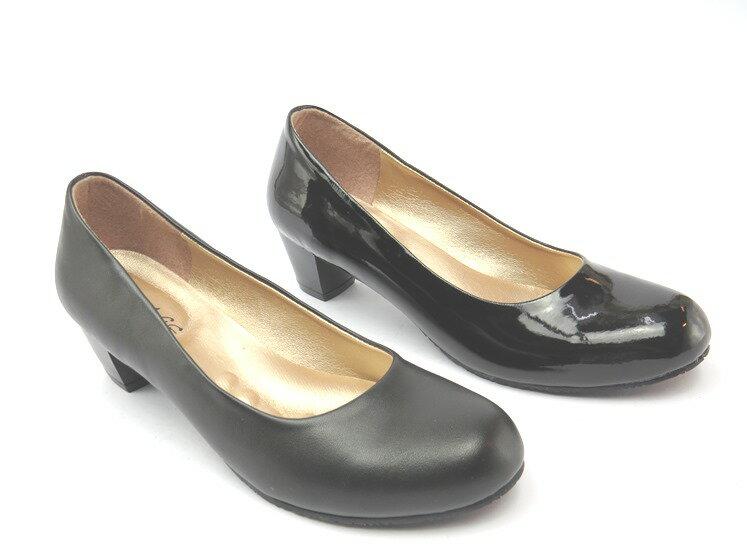 *高跟鞋* 舒適典雅圓頭高跟包鞋21-1936(黑皮/黑金)☆【彩虹屋】☆現+預