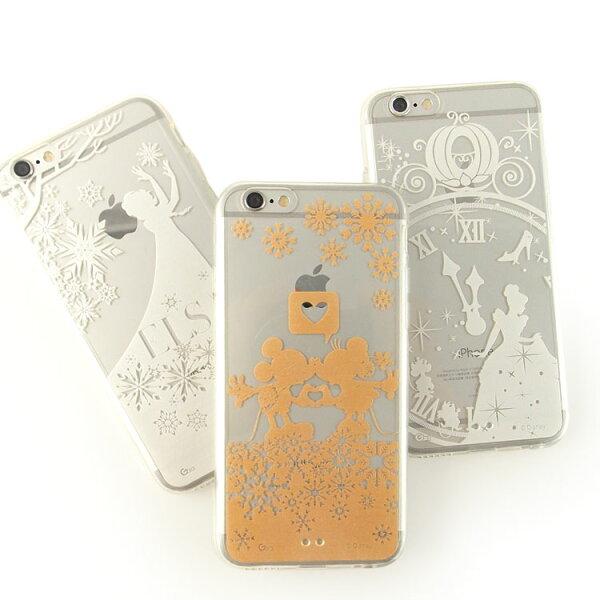 【Disney】iPhone6plus彩繪金色珠光白透明雙料保護殼-單色系列
