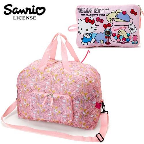 <br/><br/>  粉色款【日本進口】凱蒂貓 Hello Kitty ACTION 折疊 行李袋 旅行袋 肩背袋 超大容量 防潑水 - 108901<br/><br/>