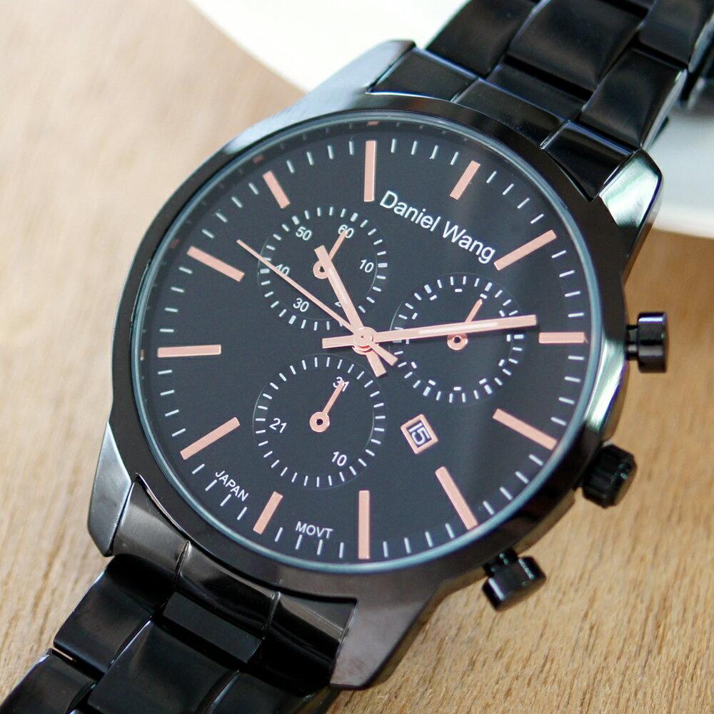 Daniel Wang 3136-IP 霸氣大錶面經典仿三眼石英黑框金屬男錶 2