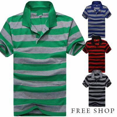 Free Shop~QTJT526~簡約 百 色棉質橫條紋立領短袖POLO衫‧四色 有大