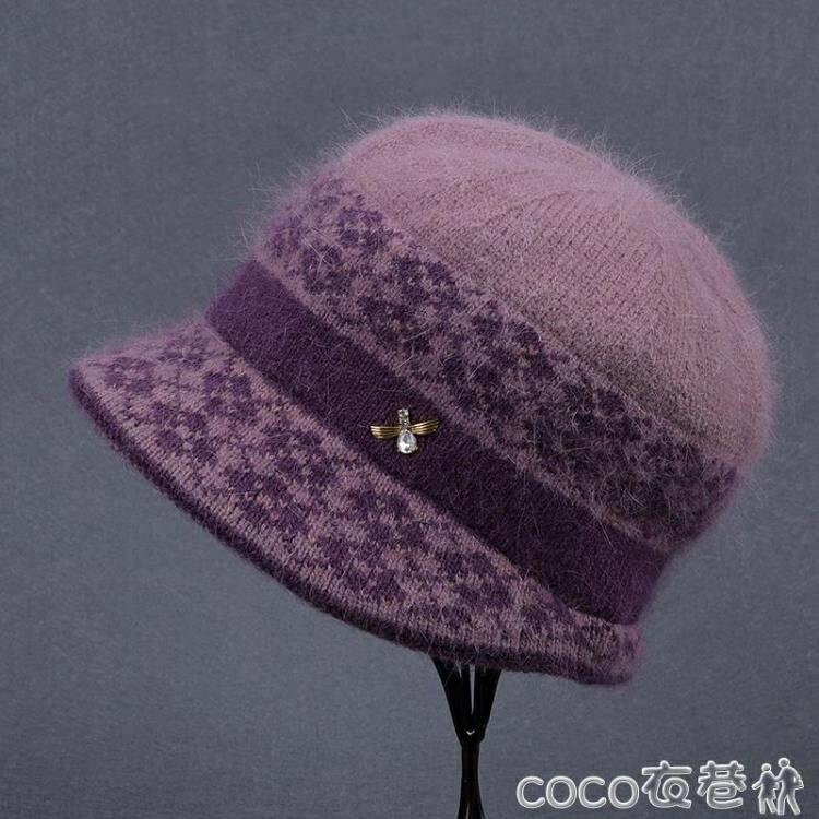 中年人帽子 中老年人秋冬天帽子女奶奶兔毛線帽媽媽加絨厚保暖老太太針織棉帽【居家家】