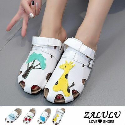 ZALULU愛鞋館 EE018 可愛童話平底透氣涼拖鞋-小鹿/大象/櫻桃/白雲-35-40