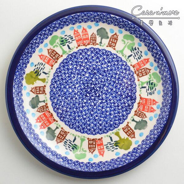 波蘭陶浪漫美屋系列圓形餐盤陶瓷盤菜盤點心盤圓盤沙拉盤27cm波蘭手工製