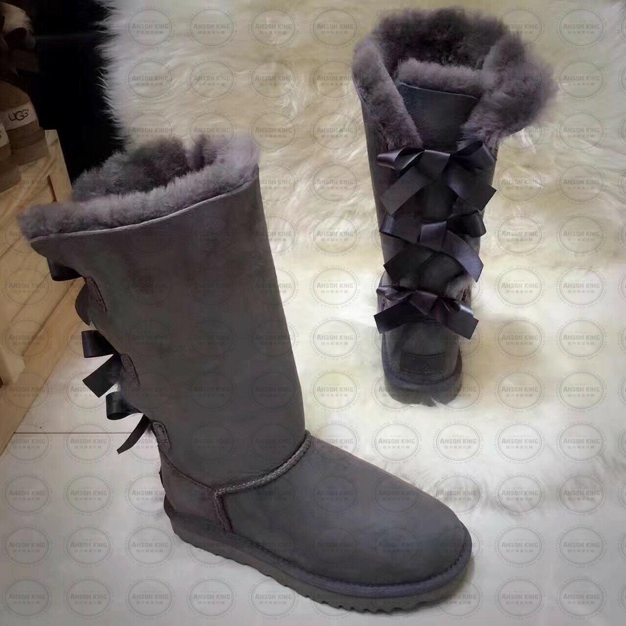 OUTLET正品代購 澳洲 UGG 一體女式絲帶蝴蝶結 保暖 真皮羊皮毛 雪靴 短靴 灰色 0
