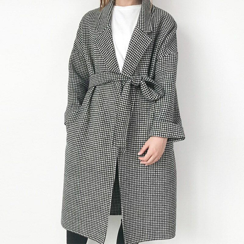 毛呢大衣羊毛外套-千鳥格繫帶寬鬆長版女外套73wb33【獨家進口】【米蘭精品】 1