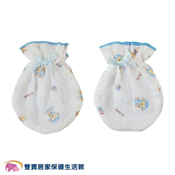 USBABY優生綿羊紗布布花手套藍防抓臉嬰兒寶寶新生純棉