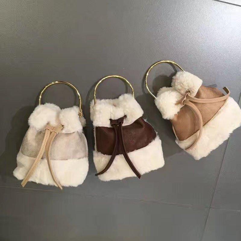 韓版可愛毛毛手提包迷你水桶包復古撞色單肩包斜背包 6