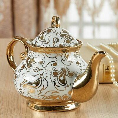 ★下午茶茶具含茶壺咖啡杯組合-6人燙金花紋歐式陶瓷茶具69g81【獨家進口】【米蘭精品】 2